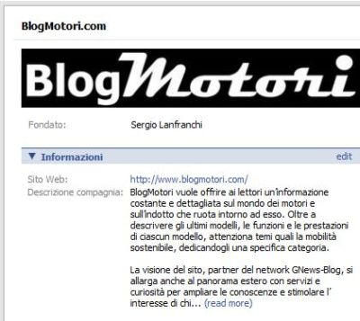 Diventa un Fan di BlogMotori.com su Facebook