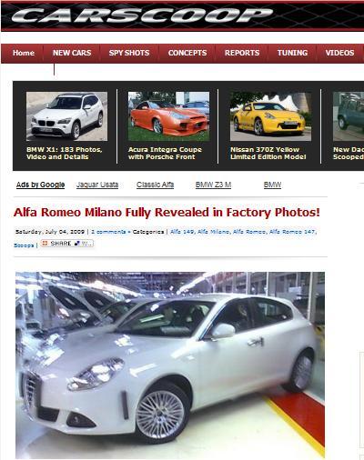 Alfa Romeo Milano carscoop pubblica le immagini del modello definitivo