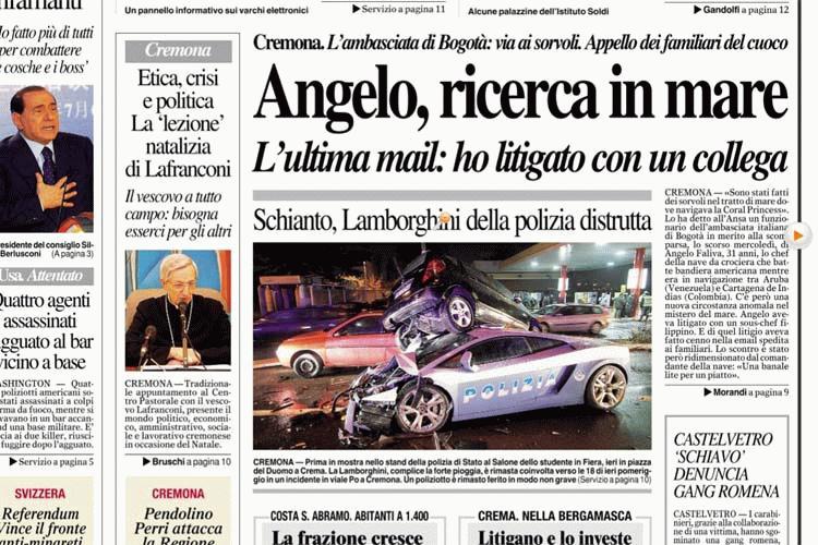 Lamborghini Gallardo della Polizia: distrutta una delle due vetture in dotazione