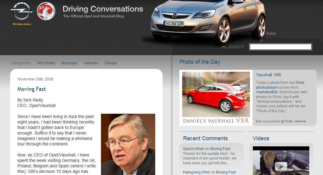 Moving Fast: è questo il titolo del primo post di Nick Reilly CEO, Opel/Vauxhall sul blog GM