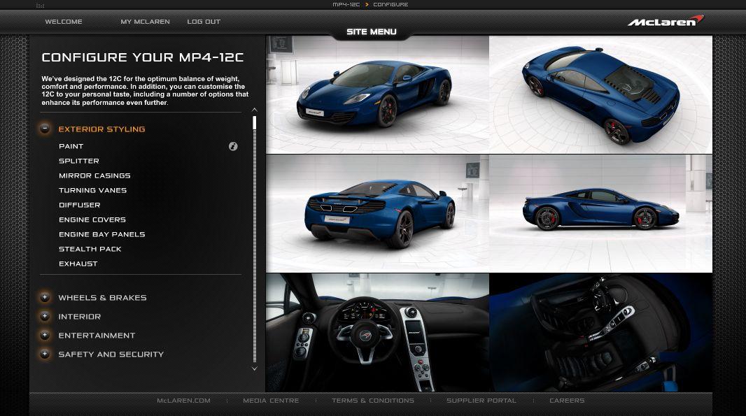 McLaren MP4-12C: disponibile il configuratore on-line
