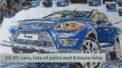 La Ford Kuga dipinta grazie a 20 automobili radicomandate 01