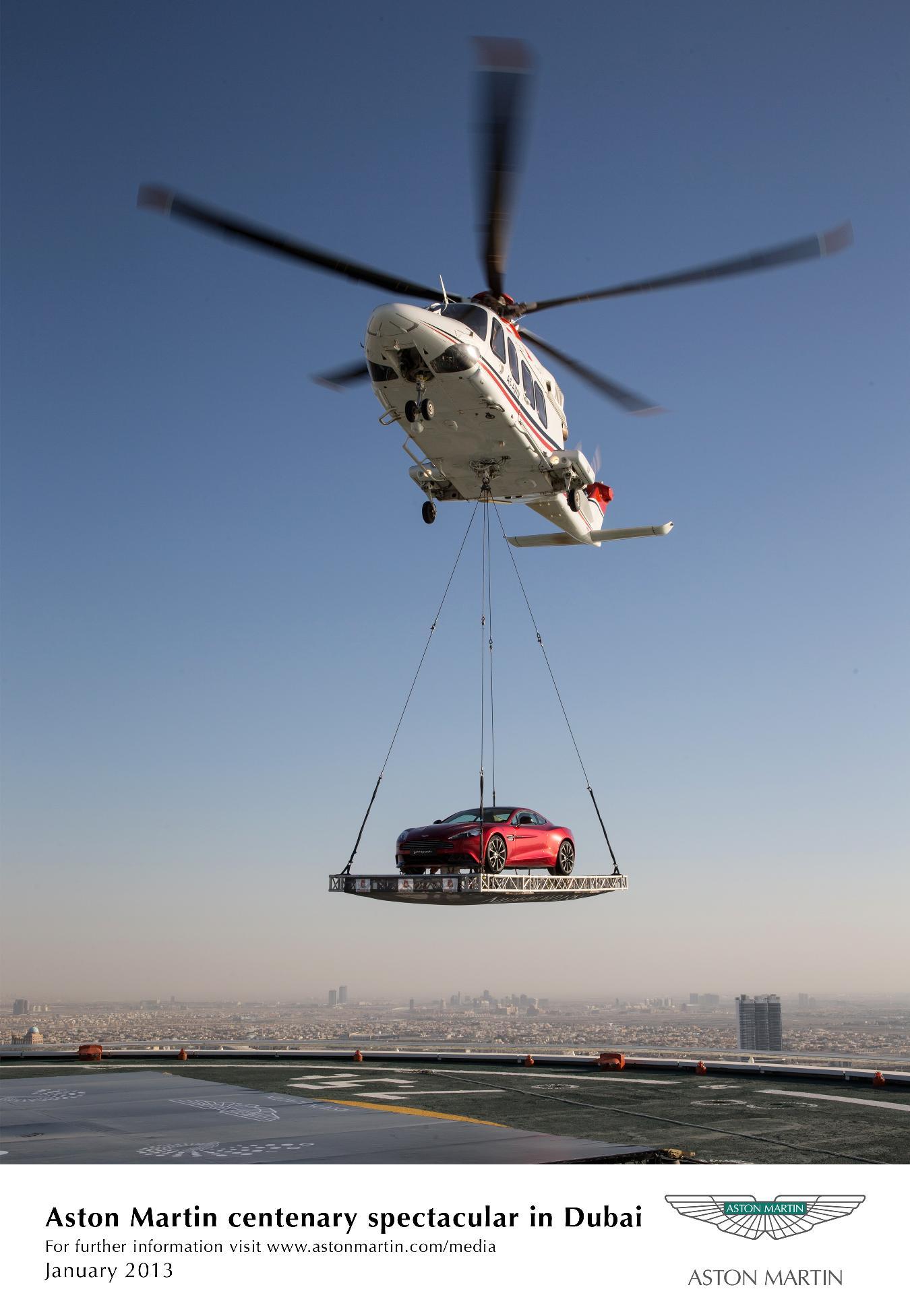 Aston Martin al Burj Al Arab di Dubai per il centenario del Brand
