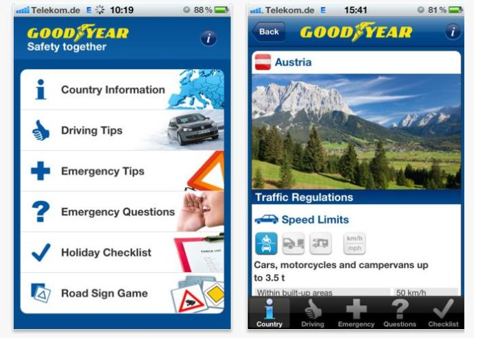 Road Safety App Europea di Goodyear: indispensabile compagna di viaggio