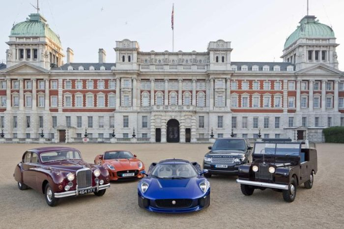 Jaguar C-X75 on Horse Guards Parade with Royal Heritage Vehicles