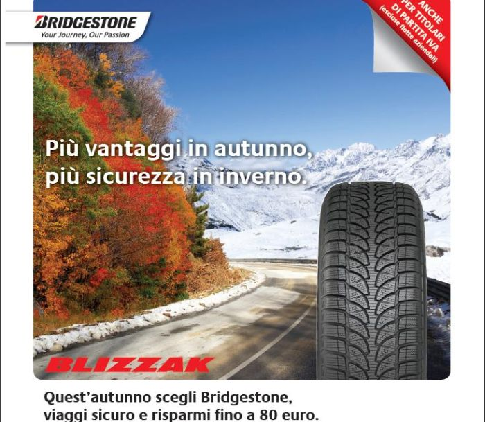 Scegli Bridgestone in autunno e viaggia senza pensieri in inverno. Sicurezza e vantaggi con i pneumatici Blizzak
