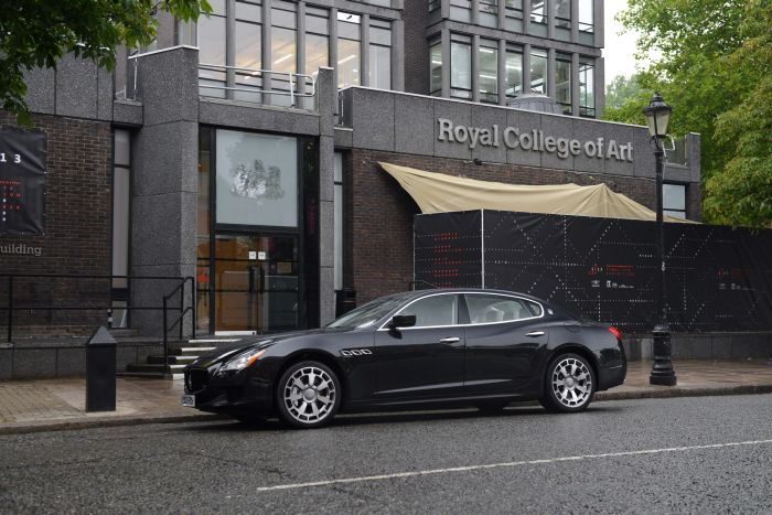 The all-new Maserati Quattroporte parked outside the RCA