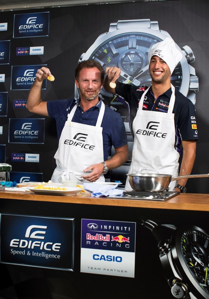 Casio Edifice EQB-500 - Monza Launch L-R, Christian Horner, Daniel Ricciardo Italian Grand Prix, Monza, 04/09/14