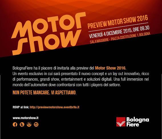 Motor Show di Bologna appuntamento a dicembre 2016